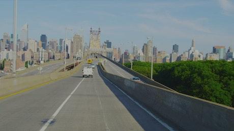 Driving towards a bridge