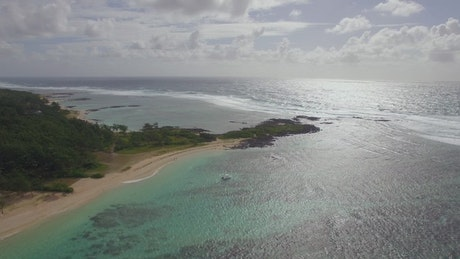 Drone along the coast of the Indian Ocean