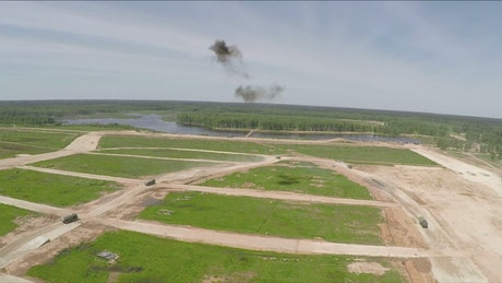 Drone capturing military exercises