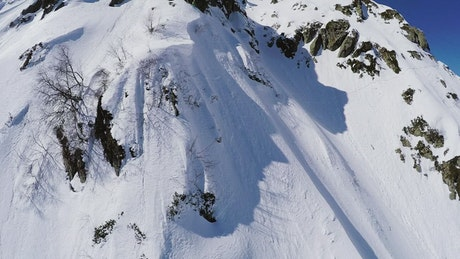 Drone filming a snowboarder