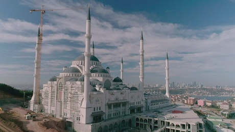 Drone flying above a Mosque