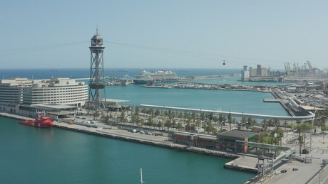 Drone flying above a port in Barcelona