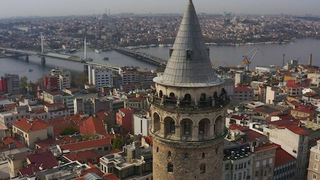 Drone flying above Galata Tower