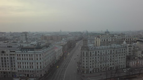 Drone flying above Moscow City