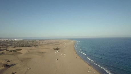 Drone flying along the coastline of Gran Canaria