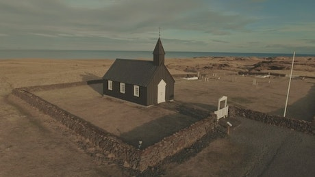 Drone flying by a Church