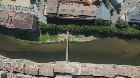 Drone flying high over a river
