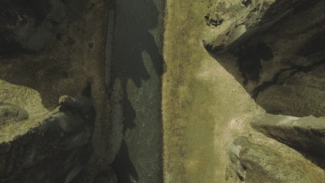 Drone flying over a canyon