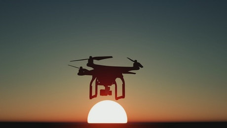 Drone recording a stunning sunset