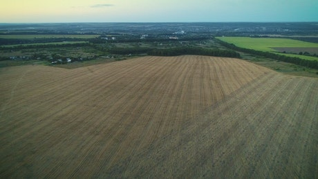 Dry agriculture fields from aerial shot