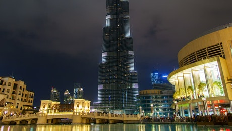Dubai Burj Khalifa at night and fountain