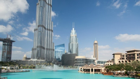 Dubai Burj Khalifa tower and fountain time lapse