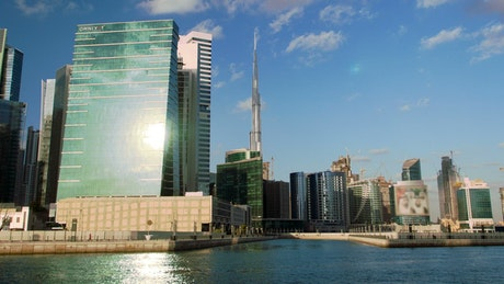 Dubai city skyline from the boat