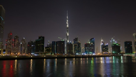 Dubai city skyscrapers at night