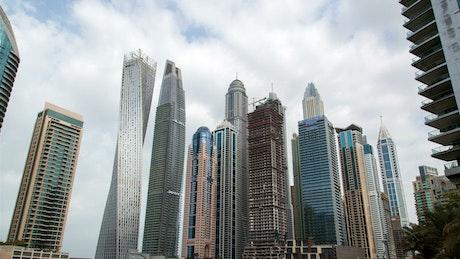 Dubai marina skyscrapers time lapse