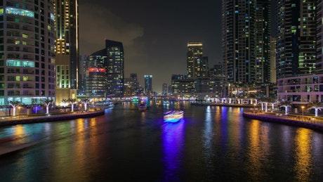 Dubai Marina traffic at night
