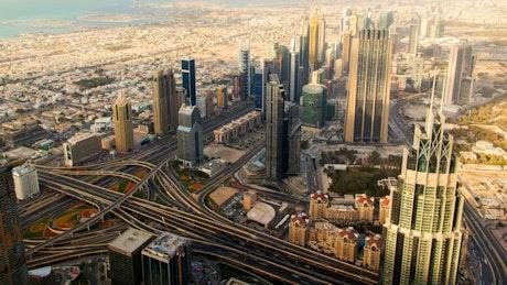 Dubai's skyscrapers and suburbs landscape