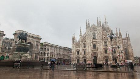 Duomo di Milano in the rain time lapse