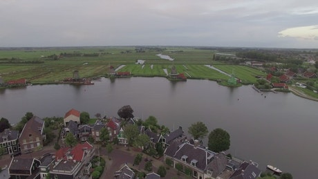 Dutch village with windmills