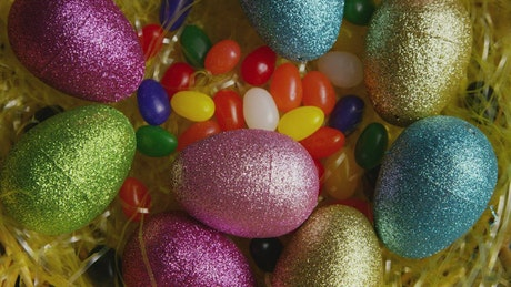 Easter egg decorations with candy