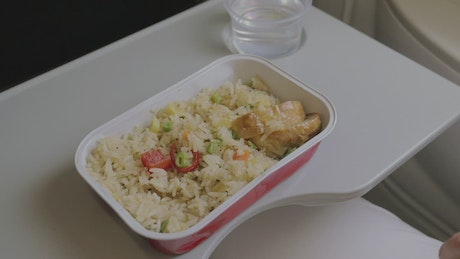 Eating a meal on an aircraft