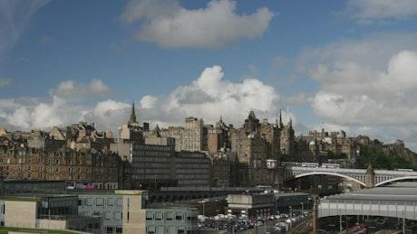 Edinburgh city time lapse seen from afar