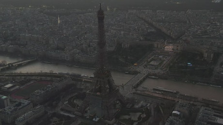 Eiffel Tower and Paris from above