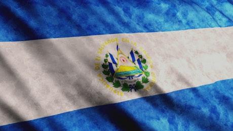 El Salvador flag while is waving