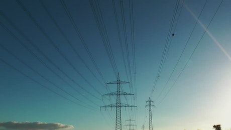 Electric poles and towers, low view