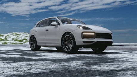 Electric sports SUV moving