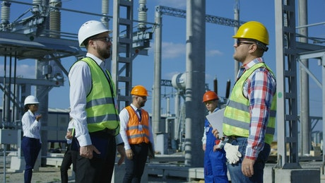 Electrical workers in power plant