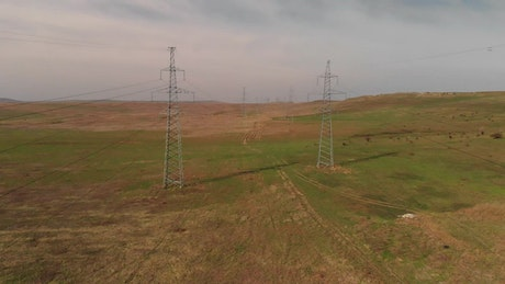 Electricity cable towers in the fields