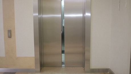 Elevator opens to reveal young business people
