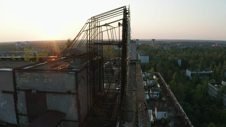 Emblem on a rooftop in Pripyat