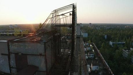 Emblem on a rooftop in Pripyat