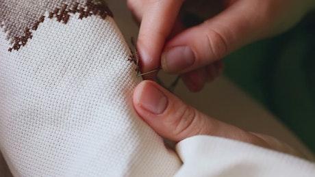Embroidery cross stitching