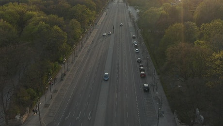 Empty avenue in Germany seen from the air