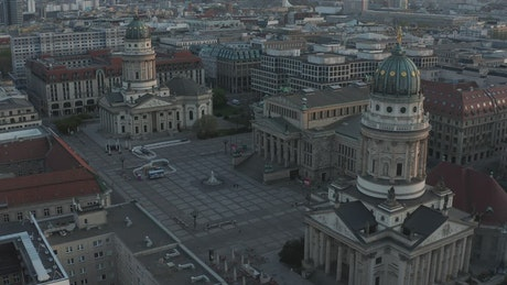 Empty Gendarmenmarkt Square, aerial shot