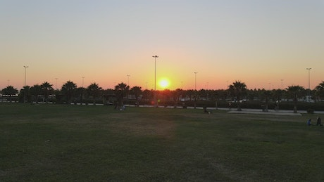 Empty park after Covid at sunset