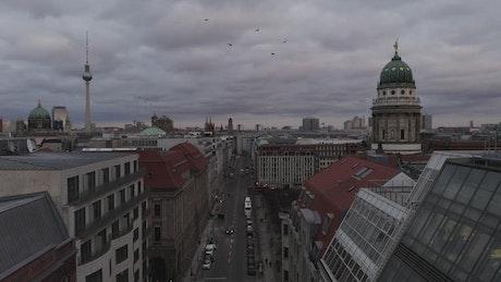 Empty street in Berlin, aerial shot