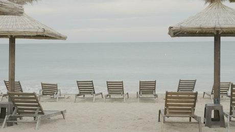 Empty tourist beach on an overcast day