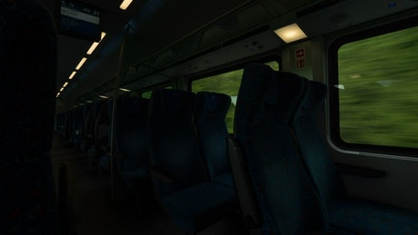 Empty train heading through the country
