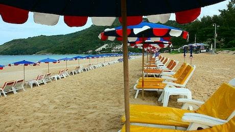 Empty yellow beach chairs