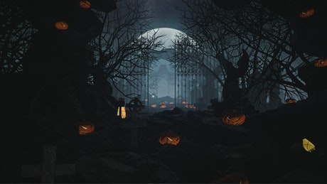 Entrance to a cemetery with ornamental pumpkins