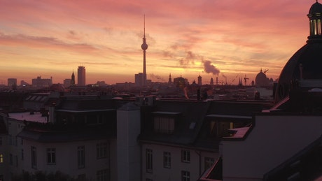 Epic aerial shot of the Berlin skyline at sunset