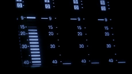 Equalizer screen on a control panel