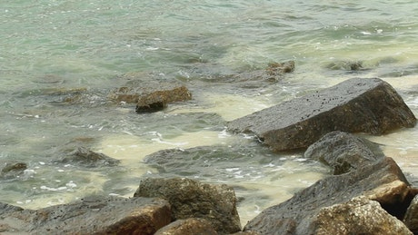 Eroded rocks by the ocean
