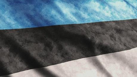 Estonia faded waving flag, close up