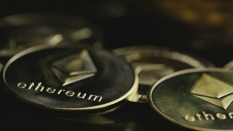 Ethereum coins close up