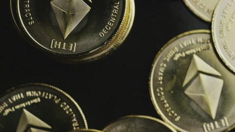 Ethereum golden coins rotating